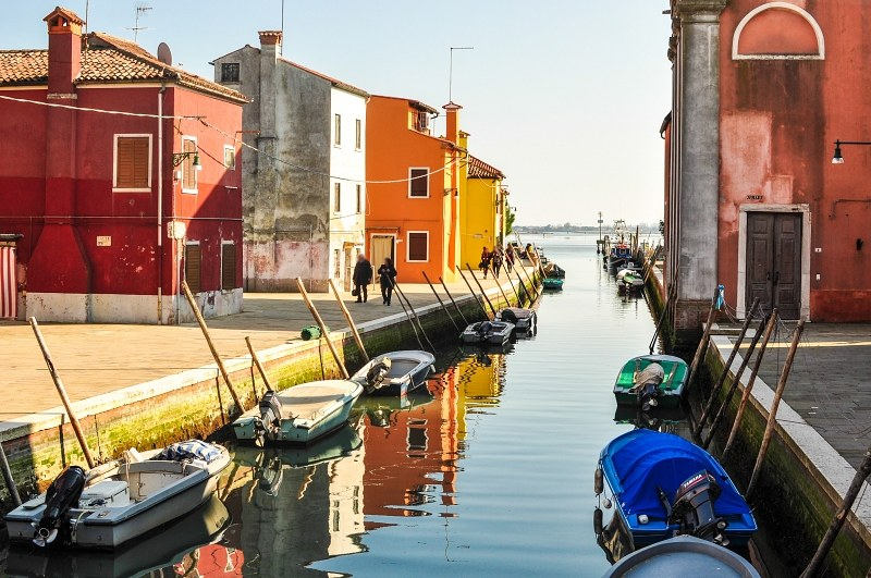 Burano channel with boats