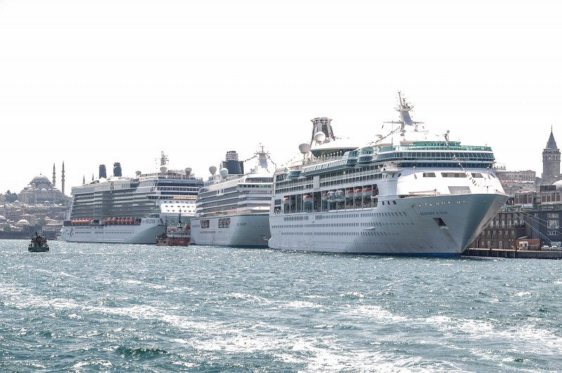Cruise ships in busy port