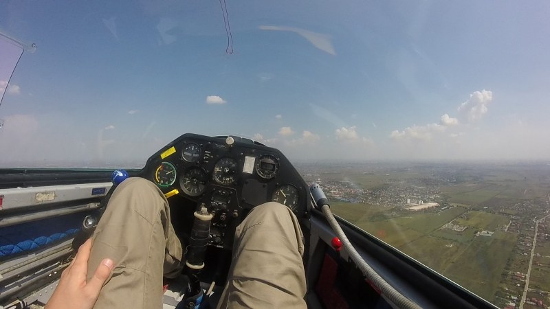 Glider cockpit in flight