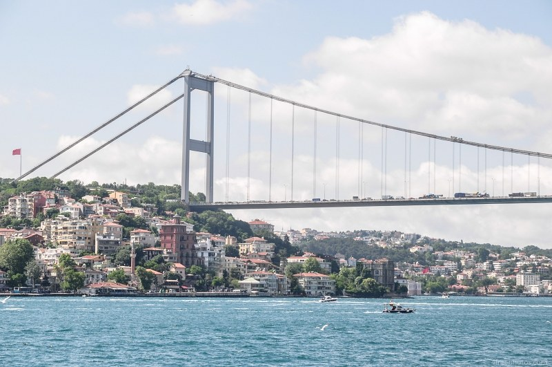Istanbul suspension bridge over Bosphorus