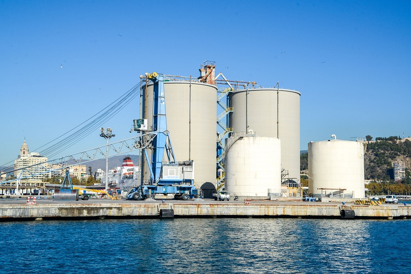 Large industrial storage tanks on dock