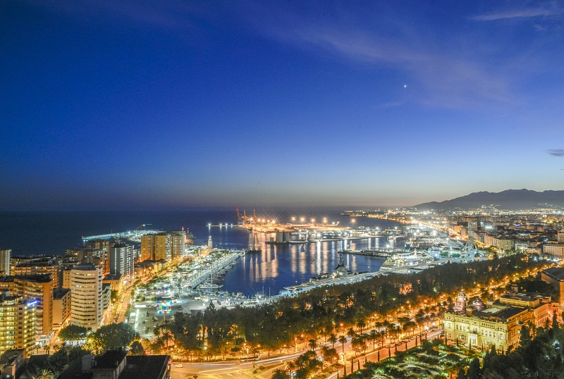 Malaga city lights at night