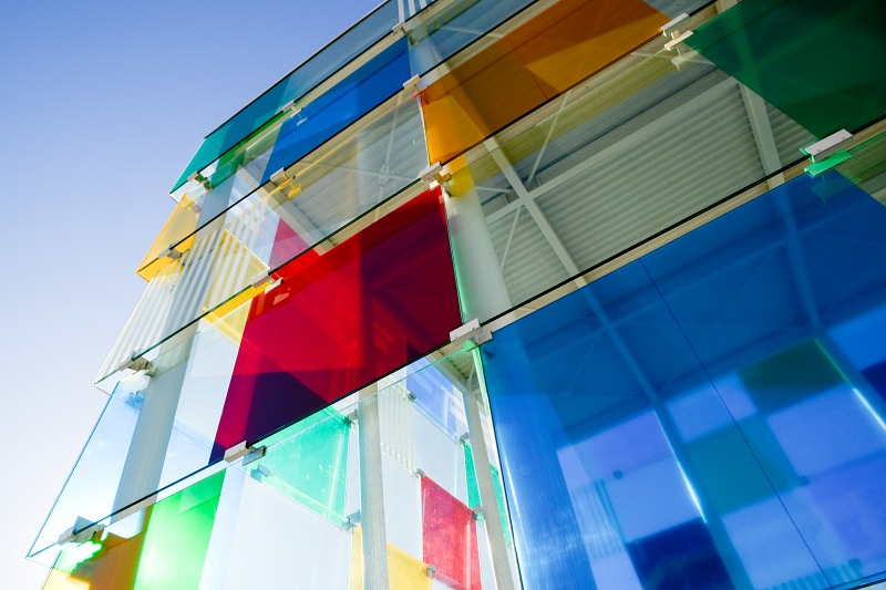 Modern colorfull glass cube building