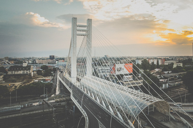 Modern suspension bridge in a city