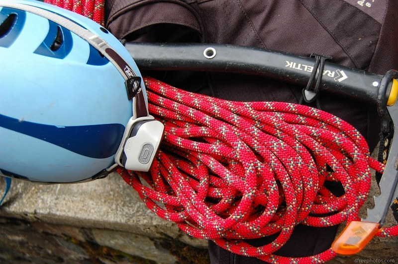 Rope and climbing helmet