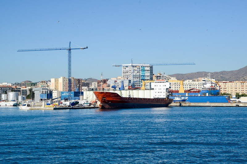 Ships in industrial port of Malaga