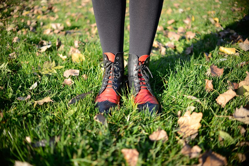 Woman red boots autumn