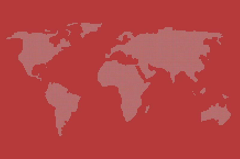 World map dots red