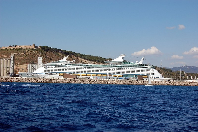 Cruise ship in port viewed from sea