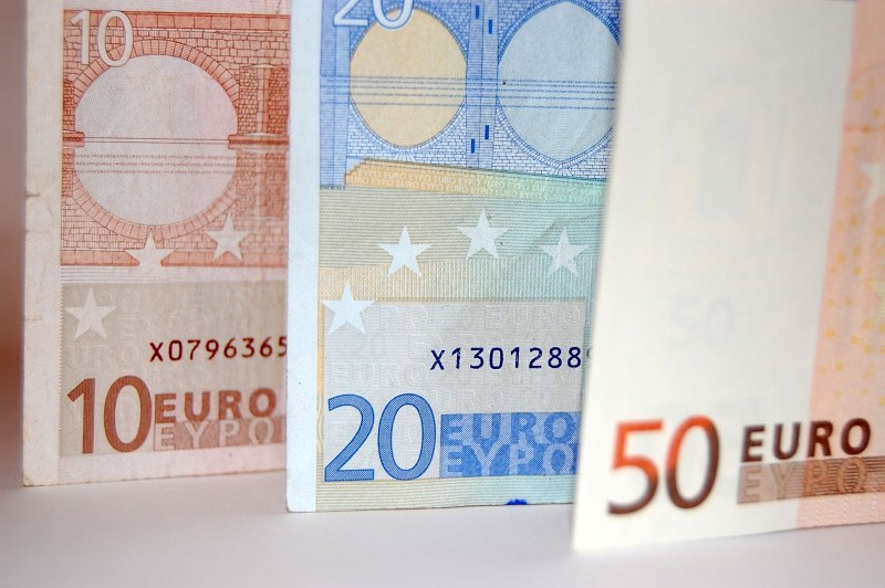 Euro banknotes of diffrent values