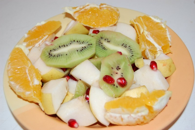 Plate of fruits salad
