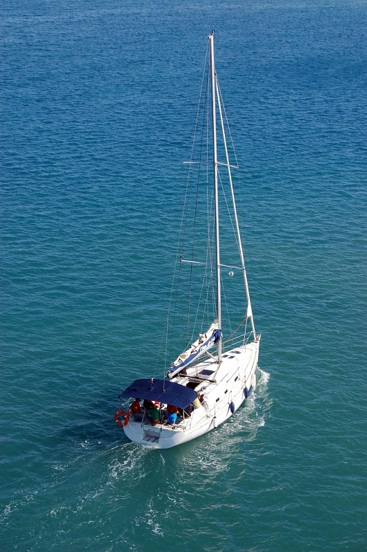 Sail yacht navigating on the sea