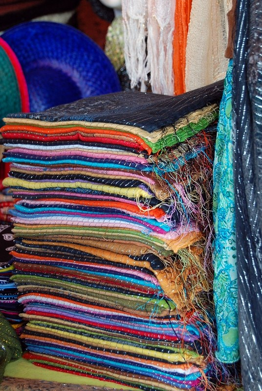 Stack of multicolor scarfs for sale