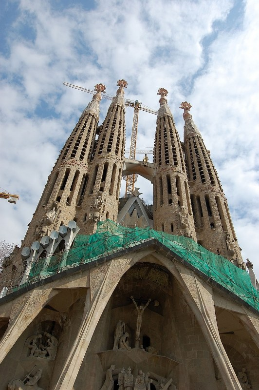 Towers of Sagrada familia raising to the sky
