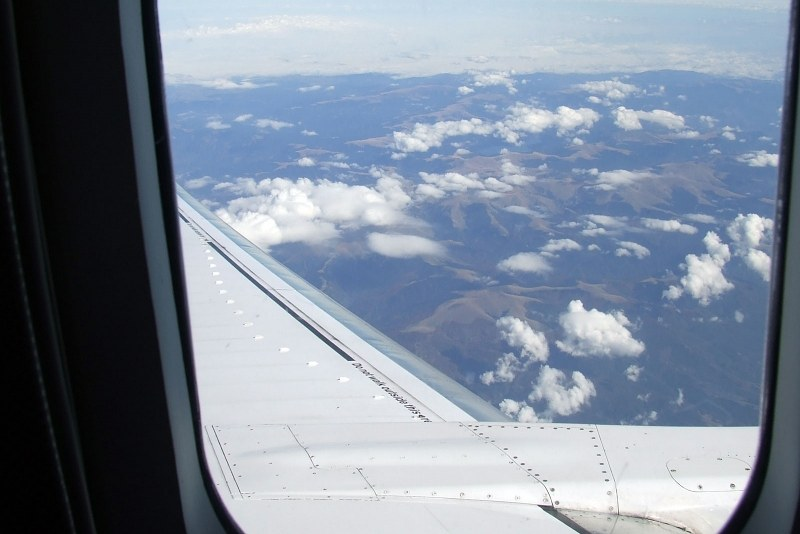View over airplane wing
