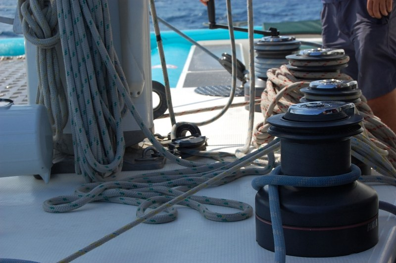 Whips and ropes on a sail  boat