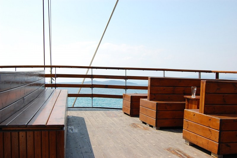 Benches on a ships deck