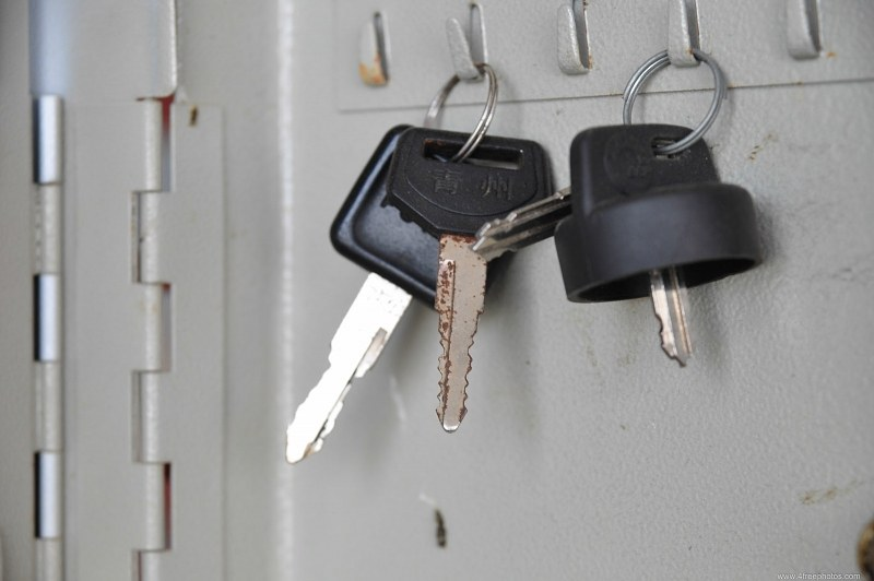 Car keys on a wall