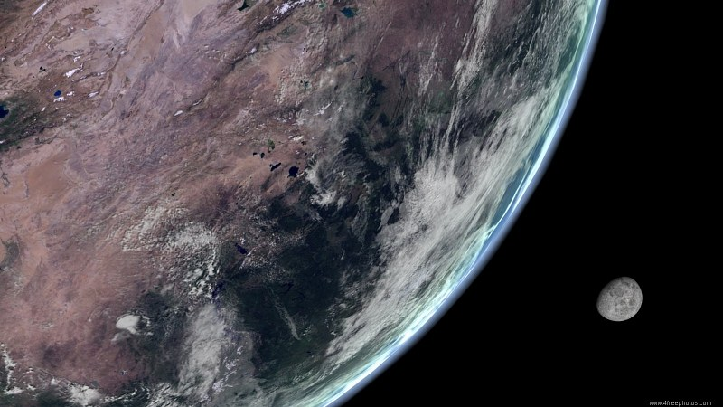 planeta tierra con luna de fondo