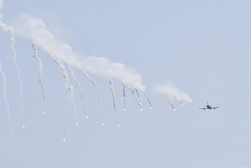 Fighter jet dispensing flares