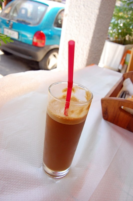 Glass of ice coffee