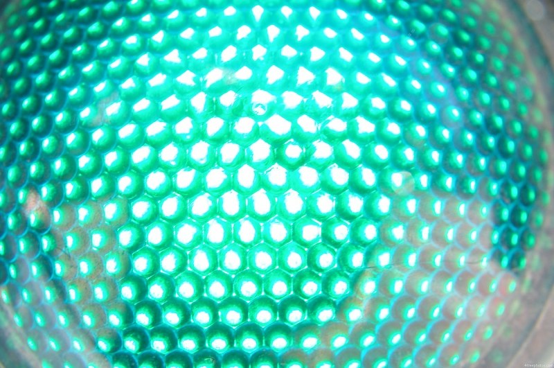 Green traffic light closeup