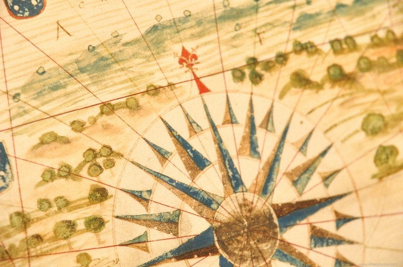 Old sea map compass