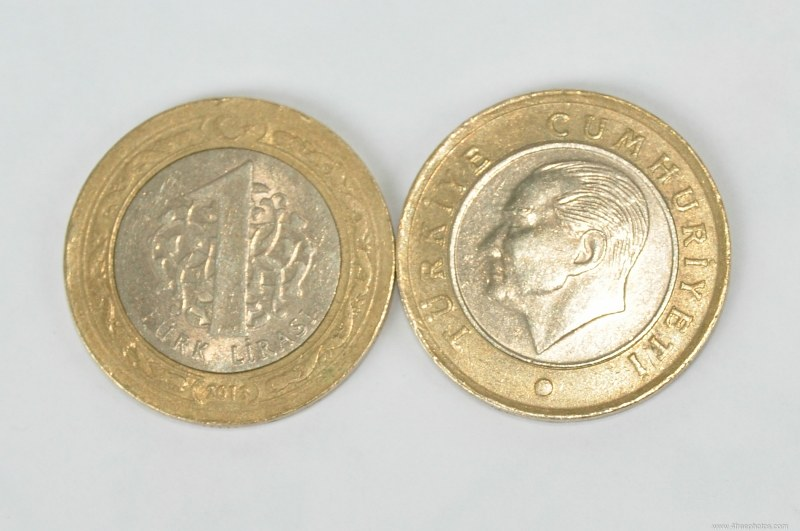 One turkish lira coin front and back