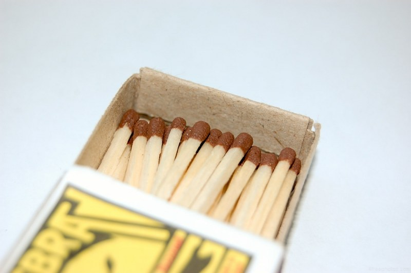 Opened box with matches