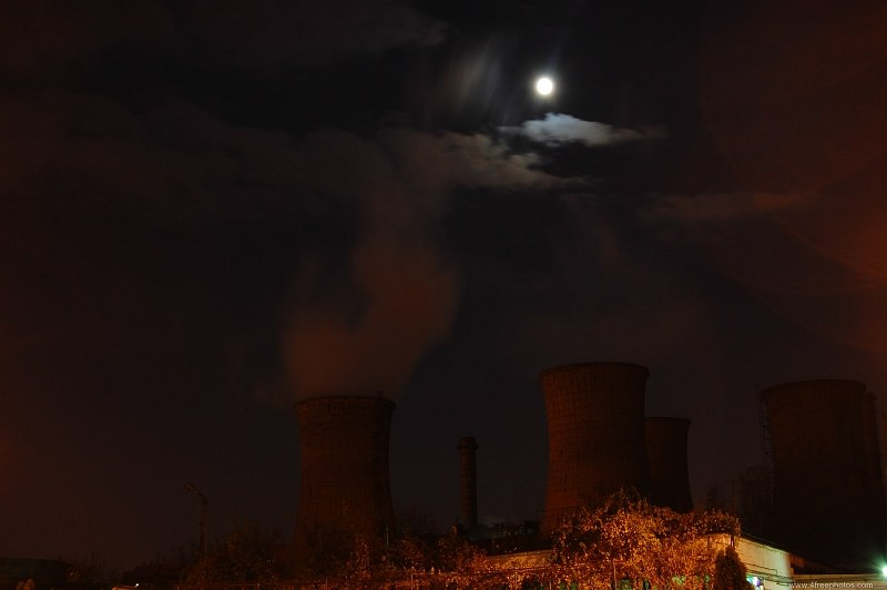 Power plant cooling towers at night