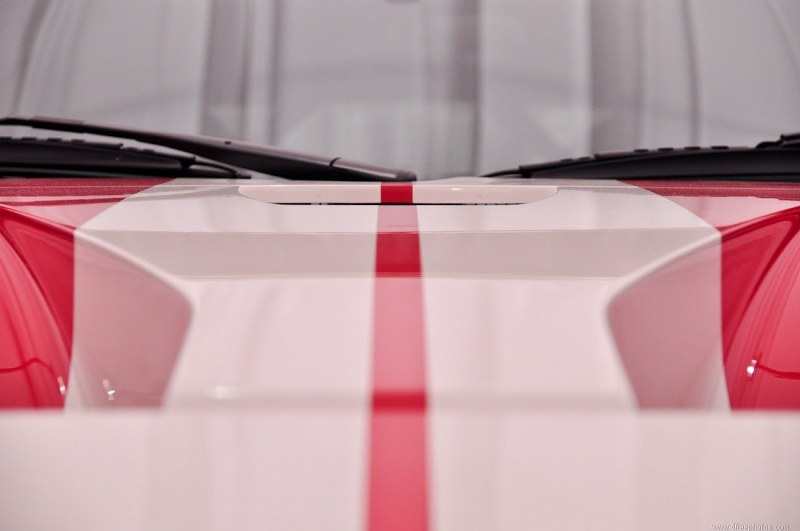 Race car hood stripes detail