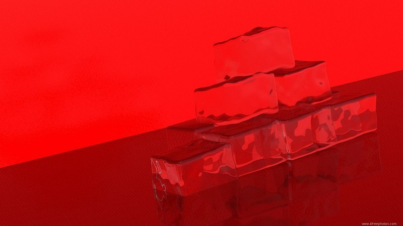 Red ice cubes