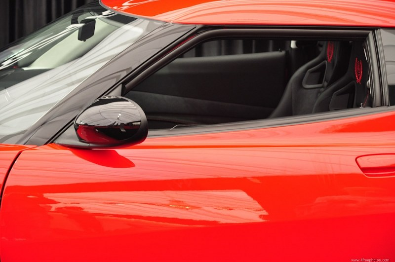 Red luxury car mirror
