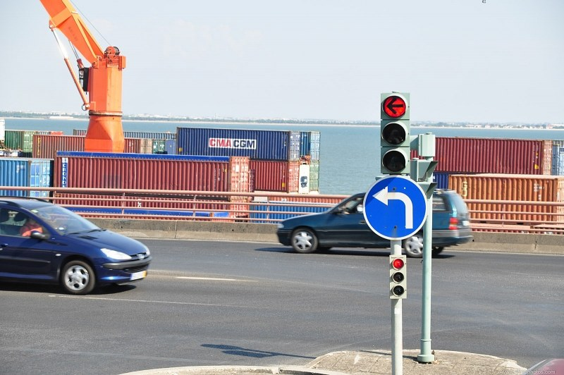 Traffic sign and indicators in port