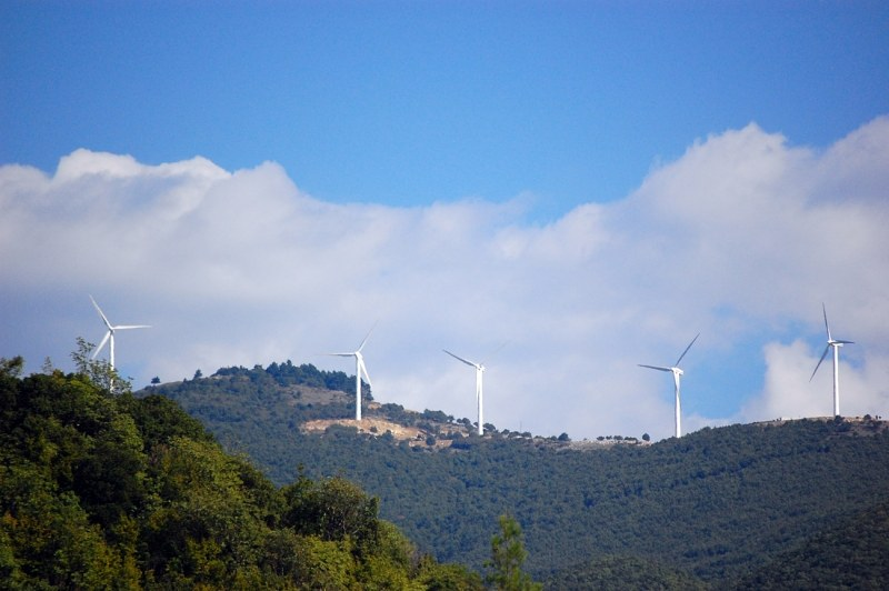 Windmills on a mountain