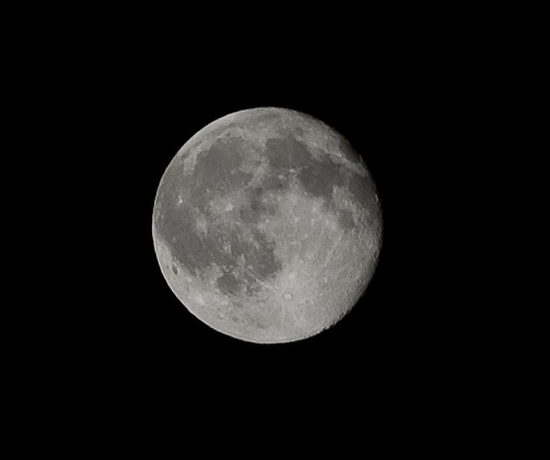 Full moon at 200mm taken with a Nikon D40 and a 55-200mm VR lens.