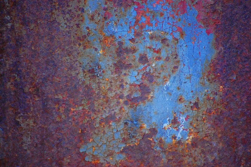 Blue corroded paint