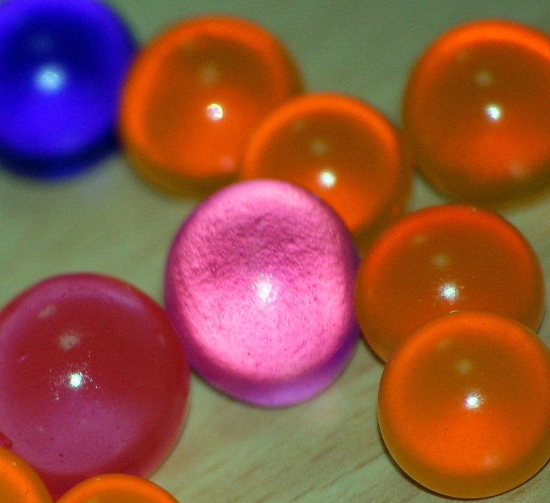 Colored jelly spheres