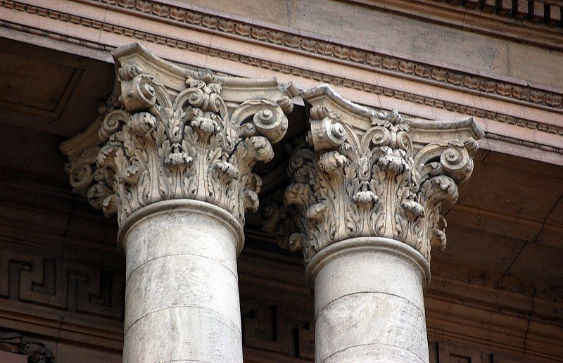 Columns on building facade