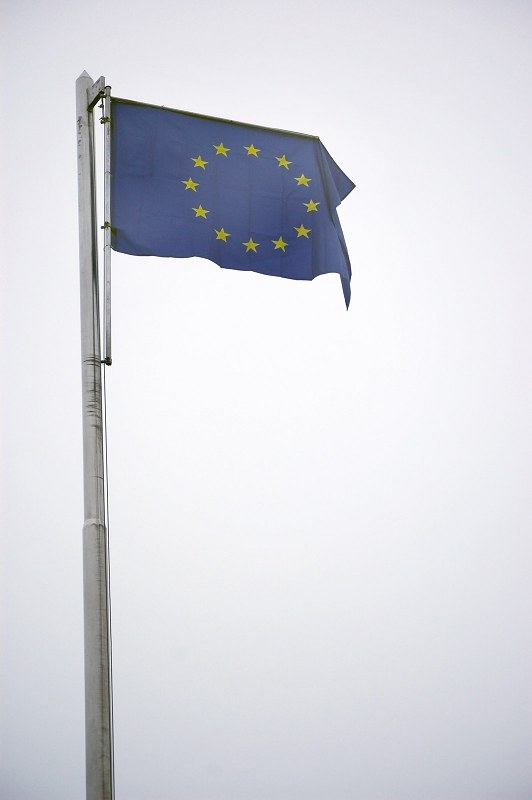 European union flag on pole