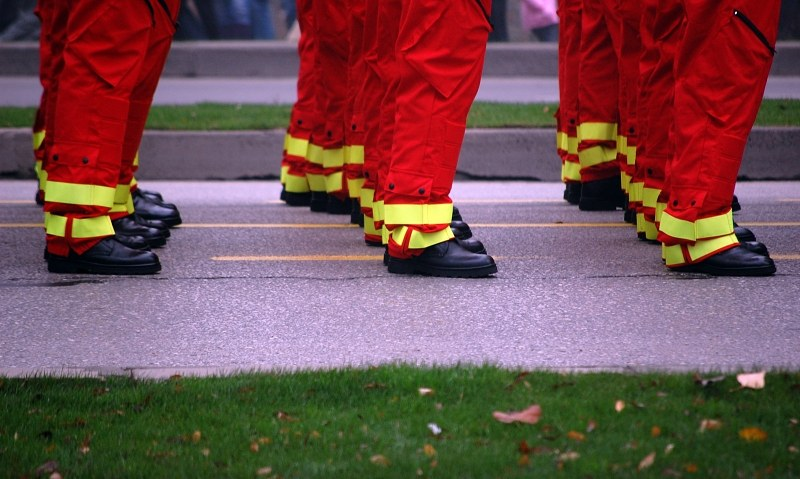 Fireman lined up for parade