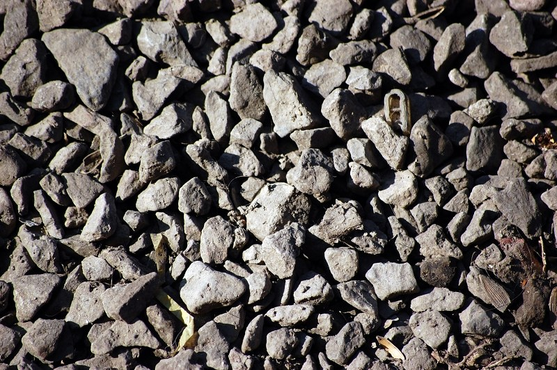 Gravel on railway tracks