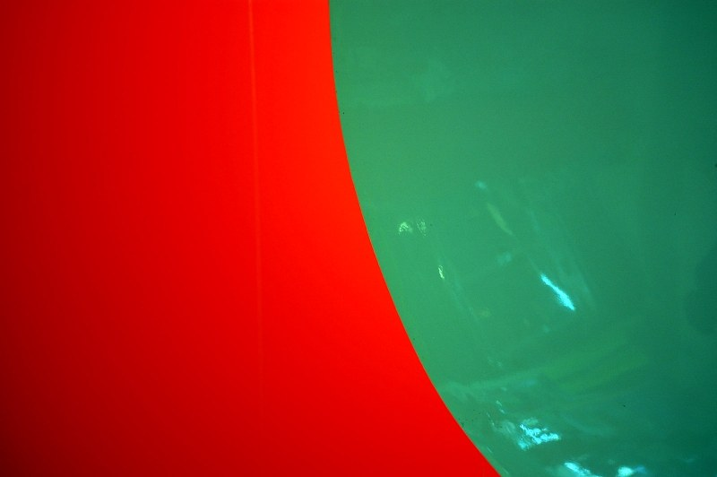 Red and green ceiling lamp detail