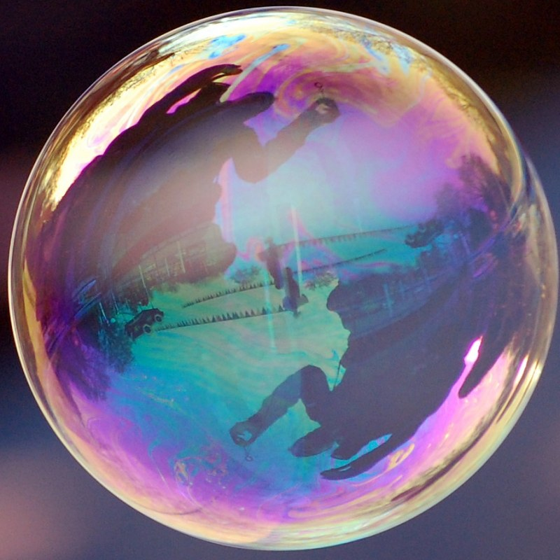 Reflection in soap bubble