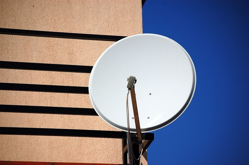 Satellite dish on balcony