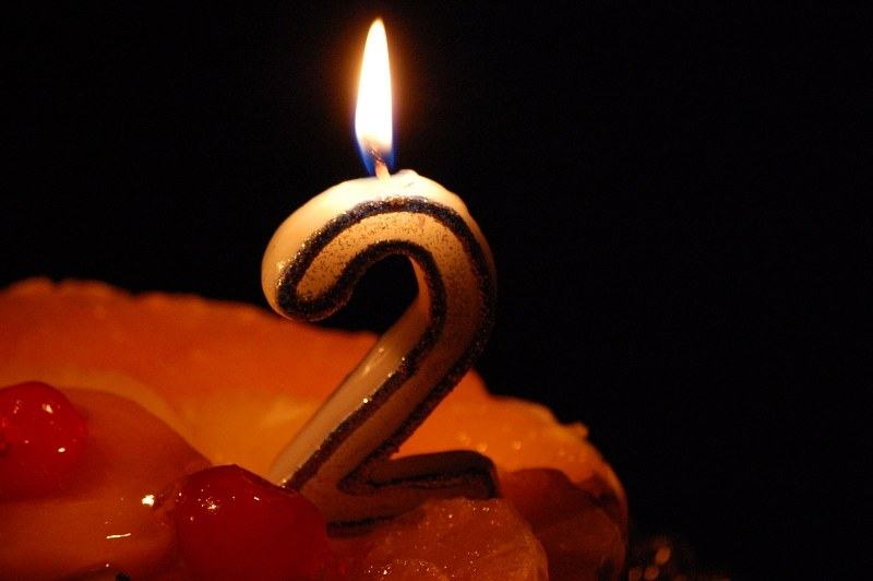 Two year candle on birthday cake
