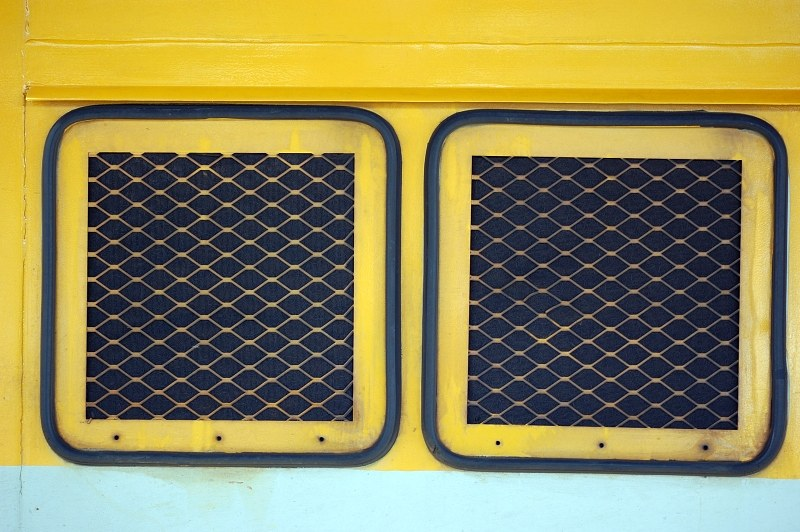 Yellow and black radiator grill