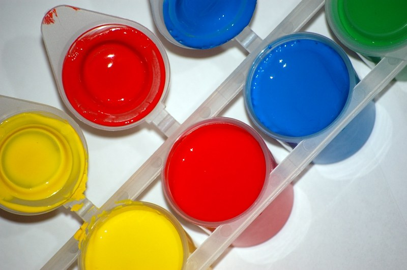 Yellow red and blue watercolor paints