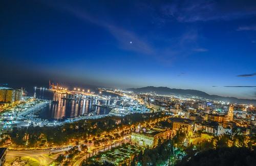 Aerial shot of Malaga Spain at night