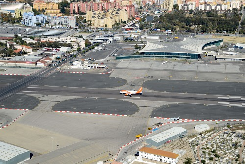 Aircraft taking off from Gibraltar airport